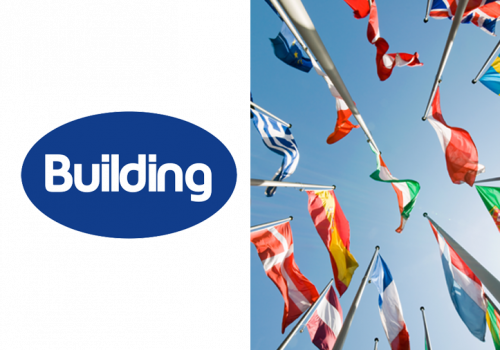 Building logo and phot of a range of international flags